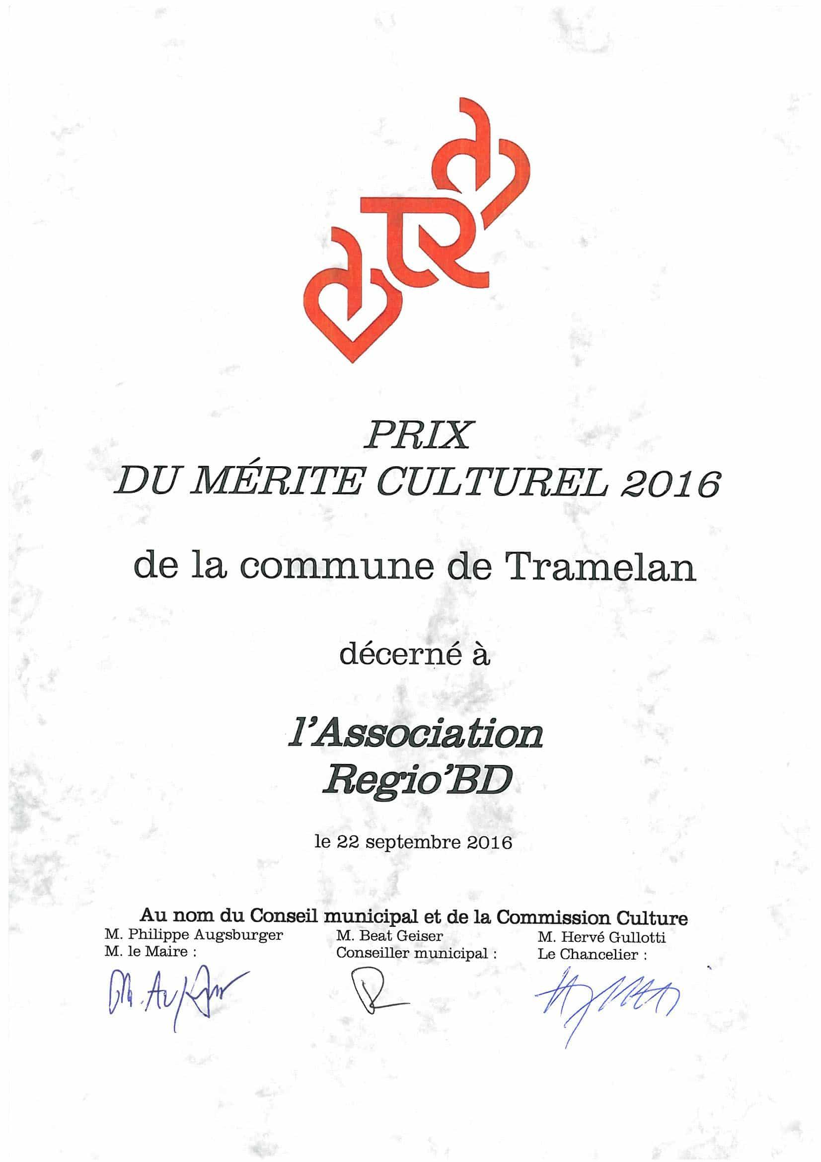 Prix du mérite culturel 2016 - Tramlabulle